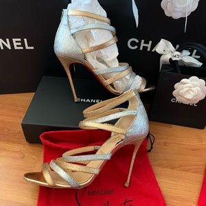 Christian Louboutin Gold Silver caged Heels 39.5